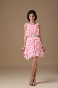 Pink Scoop Pink Mini-length Prom Dresses with Beaded Waist and Ruffles