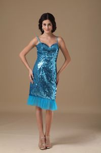 Unique Blue Sequin Knee-length Dress for Prom with Straps in Garden City