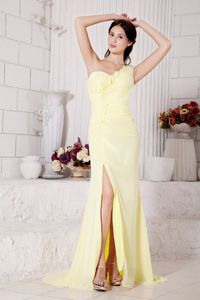 Yellow Flowers One Shoulder High Slit Ruched Prom Dresses in Emmett