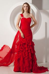Watteau Train One Shoulder Red Ruched Formal Prom Dresses with Ruffles