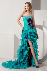 Turquoise Beaded Sweetheart High Slit Prom Dress with Ruffles and Feather