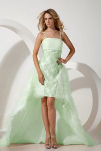Unique Light Green High-low Prom Outfits with Spaghetti Straps in Edinburgh