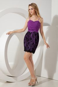 Spaghetti Straps Purple Ruched Short Prom Dresses with Lace and Sash