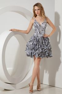 Special Zebra Print Mini-length Junior Prom Dresses with Straps and Ruffles