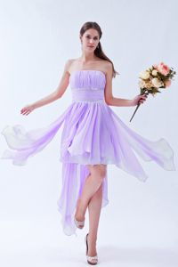Lilac Asymmetrical Ruched Informal Prom Dress with Beading in Altamont