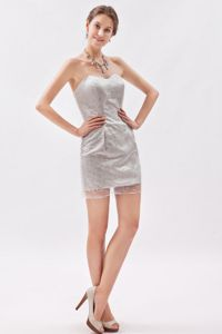 Low Price Grey Sweetheart Mini-length Prom Gown Dresses with Sequins