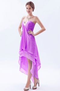 Lavender Beaded V-neck High-low Ruched Junior Prom Dress in Aberdeen