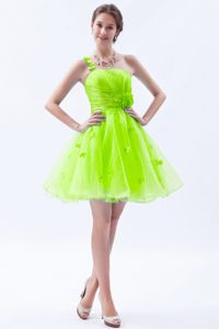 Cute Spring Green One Shoulder Mini-length Prom Gown Dress with Flower
