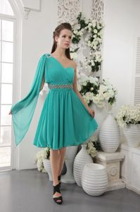 Special One Shoulder Turquoise Knee-length Beaded Semi-formal Prom Dress