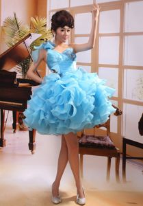Lovely Baby Blue One Shoulder Short Prom Dress with Appliques and Ruffles