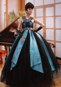 Special Black And Aqua Blue Beaded Halter Floor-length Prom Gown Dress