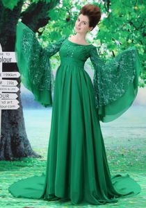 Unique Scoop Long Sleeves Brush Green Formal Prom Dress with Embroidery