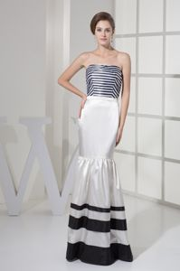 Mermaid Style Strapless Prom Attire with Strips Accent in Westcliff