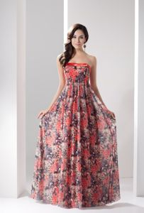 Beautiful Chiffon Zipper-up Strapless Prom Dresses with Floral Print