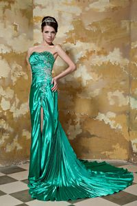 Green High Slit Beaded 90s Style Prom Dresses with Pleat in Charing