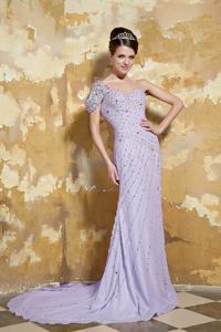 Pretty Lavender One Shoulder Prom Outfits with Beads Sweep Train