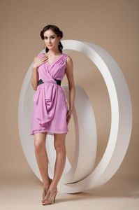 Sweet Pink V-neck Ruched Prom Gown Dress Mini-length in Cardross