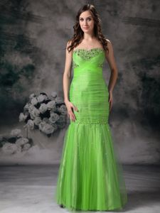 Wanted Spring Green Tulle Prom Outfits with Beads and Ruche in Crinan