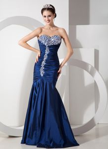 Navy Blue Mermaid Beading Ruched Prom Gown Dress in Kilmacolm