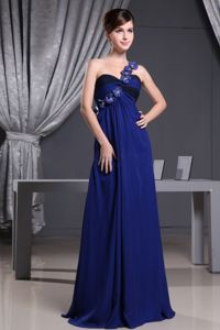 Floral Embellishment Accent Royal Blue Prom Attire in Reynoldston