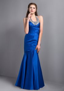 Mermaid Halter Beaded Ankle-length Taffeta Prom Dress Royal Blue
