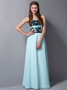 Light Cyan Strapless Floor-length Chiffon Lace Prom Dress in Lancaster