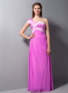 One Shoulder Floor-length Pink Prom Dress with Beading in Harrisburg
