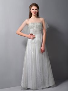Grey Strapless Floor-length Formal Prom Dress with Beading in Bend
