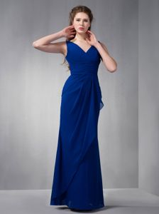 V-neck Chiffon Royal Blue Floor-length Prom Gown Dress in Ashland