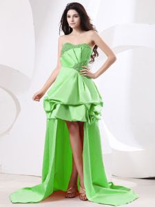 High-low Beaded Spring Green Prom Dress with Pick-ups in Brisbane