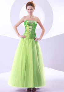 Spring Green Ankle-length Prom Dress with Beading and Appliques