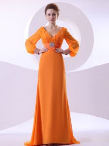 Beaded Ruched Orange Chiffon Prom Attire with Long Sleeves in Burnie