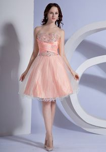 Beaded A-line Peach Pink Taffeta and Organza Prom Dress in Adelaide