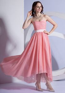 Peach Pink Chiffon High-low Prom Gown Dresses in Devonport TAS