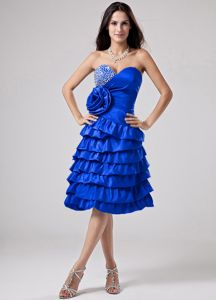 Blue Sweetheart Ruffled Prom Dress with Hand Made Flower in Mackay
