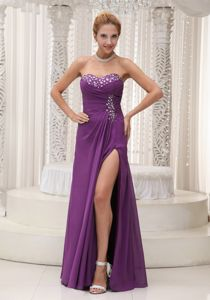 Beaded Sweetheart Chiffon Purple Prom Gown with High Slit in Brisbane