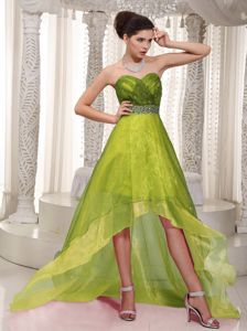 A-line Sweetheart High-low Ruched Beaded Prom Dress Olive Green