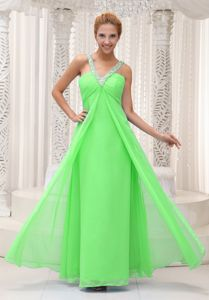 Beaded V-neck Ruched Spring Green Chiffon Prom Evening Dress