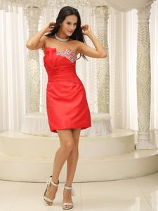 Beaded Ruched Strapless Red Semi-formal Prom Dress in Corvallis