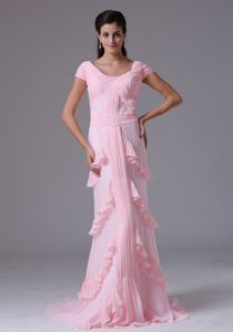 Baby Pink Scoop Prom Dress With Ruffes and Short Sleeves in Devonport