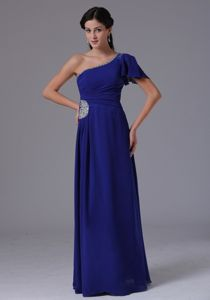 Peacock Blue One Shoulder Prom Dress with Beading and Ruches in Alabama