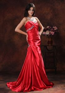A-line Red Sweetheart Beaded Prom Dress with Brush Train in Gympie