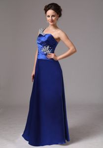 Beaded One Shoulder Ruched Prom Dress in Royal Blue in Macon Georgia
