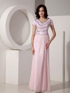 V-neck Floor-length Baby Pink Prom Dress in Chiffon with Beading