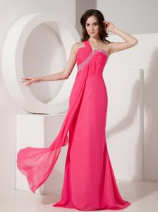 Hot Pink One Shoulder Floor-length Prom Attire with Beading in Eugene