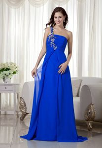 Helena Appliques Decorate One Shoulder Royal Blue Chiffon Dress For Prom Queen