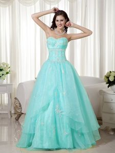 NE Turquoise Sweetheart Beading Appliques Prom Dama Dresses for Quinceanera