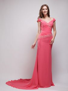 V-neck Off the Shoulder Coral Red Brush Train Chiffon Prom Gowns with Appliques