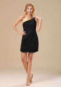 Sacramento Black and Gold Beaded Decorate One Shoulder Ruched Dress for Prom Queen