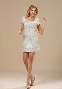 Mini-length Junior Prom Dresses by Silver Sequined Fabric in Denver Colorado